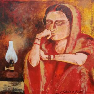 emotional-art, Emotional-painting, grieved-lady-painting