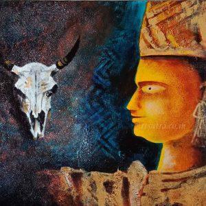 Mahishasur-painting, durga-mahisasura-mardini