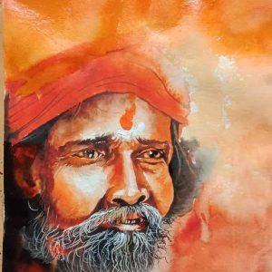 Sadhu-Painting, Sadhu-Image, Sadhu-Portrait, Handmade-Painting