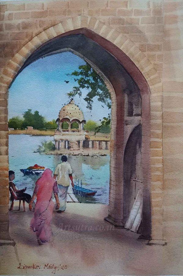 Gadisar-Lake-Painting