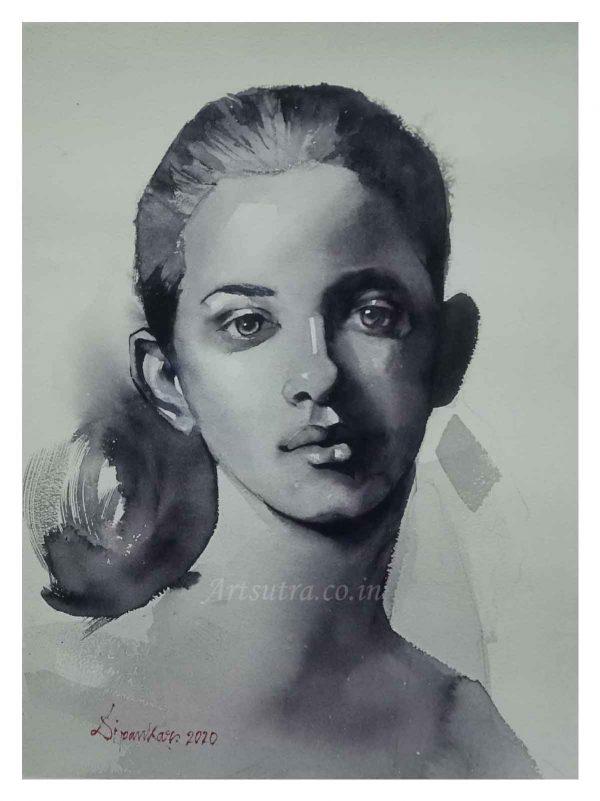 Girl-Monochrome-Painting